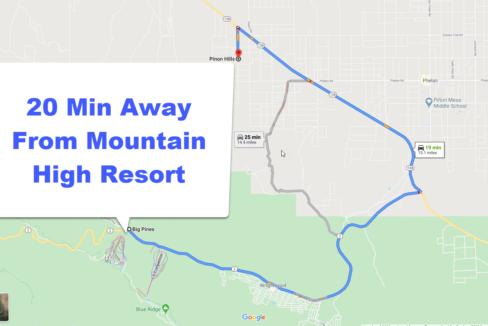 20 min away from mountain high resort